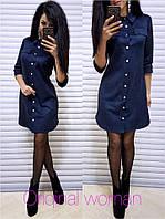 Замшевое платье - рубашка на пуговицах с рукавом 3/4 203909