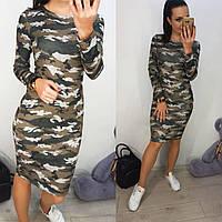 Платье хаки из трикотажа до колен длиной 5703915