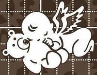 Чипборд. Ангелочек с мишкой размером 57х45мм