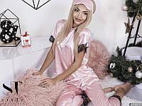 Пижама женская костюм для дома сна шелк отделка французский кружевной гипюр пудра 42-44 44-46