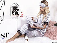 Пижама женская костюм для дома сна шелк отделка французский кружевной гипюр стальной 42-44 44-46