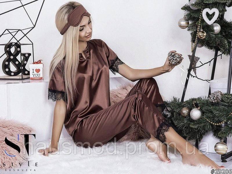 Пижама женская костюм для дома сна шелк отделка французский кружевной гипюр шоколад