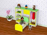 Детская игровая стенка Спальня игровая для кукол. W35