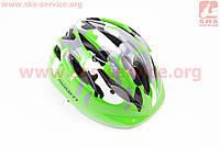 """Шлем велосипедный детский, 12 вент. отверстия, системы регулировки по размеру Divider и Run System SRS, зеленый """"КАМУФЛЯЖ"""" AV-021 для велосипеда"""