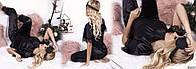 Пижама женская костюм для дома сна шелк отделка французский кружевной гипюр черный 42-44 44-46