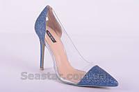 Синие туфли на шпильке с силиконовой вставкой