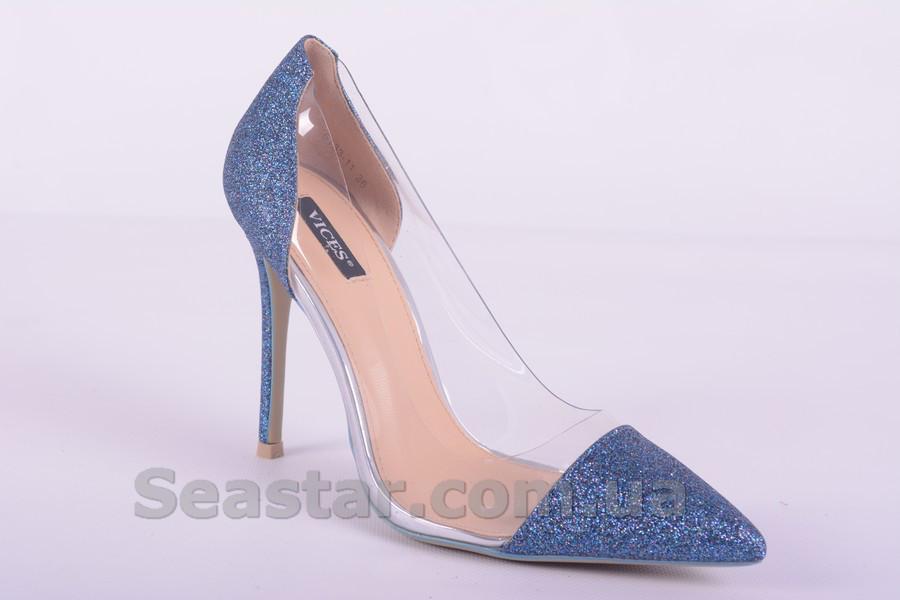 Синие туфли на шпильке с силиконовой вставкой - Seastar.com.ua - женская обувь оптом в Хмельницком