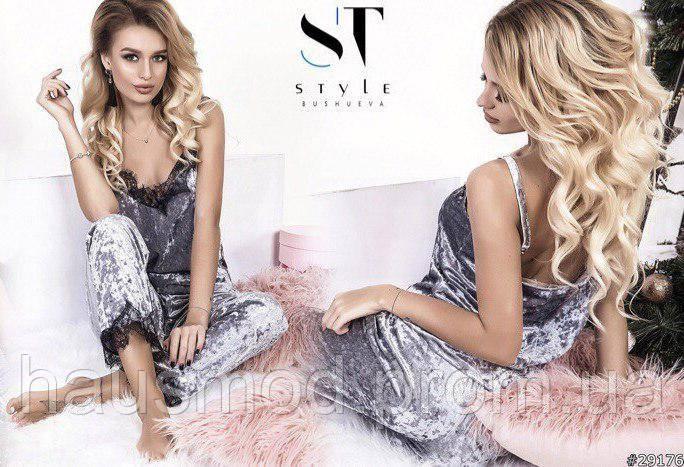 Пижама женская для дома сна топ на бретелях+штаны велюр кружево серый