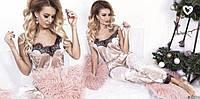 Пижама женская для дома сна топ на бретелях+штаны велюр кружево беж, фото 1