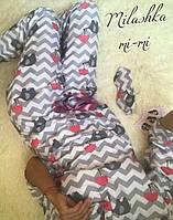 Пижама женская теплая байка слон-зонт кофта рукав 3/4 штаны на завязках 42 44 46