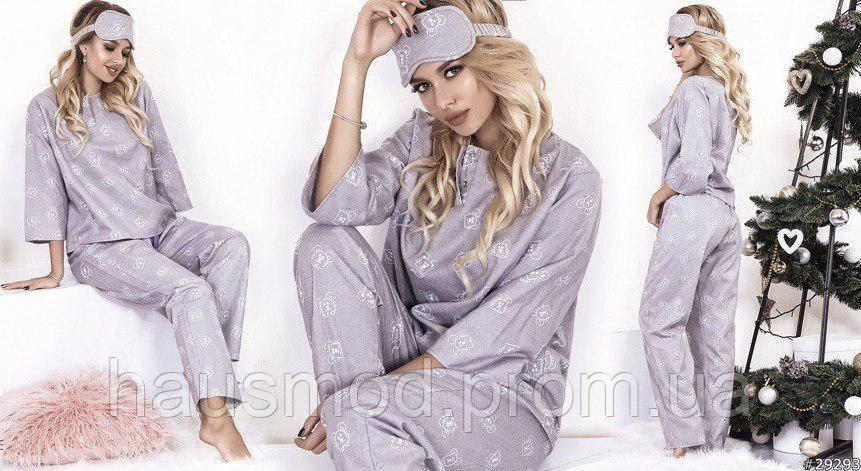 Пижама женская теплая байка мыши кофта рукав 3/4 штаны на завязках