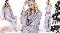 Пижама женская теплая байка мыши кофта рукав 3/4 штаны на завязках, фото 1