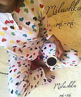 Пижама женская теплая байка сердце кофта рукав 3/4 штаны на завязках 42 44 46 , фото 1