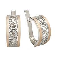 Серебряные серьги Натали с золотыми накладками 000011954