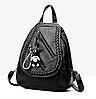 Рюкзак женский из кожзама Каплевидный с брелком Черный
