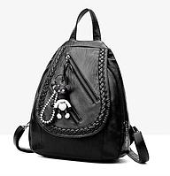 Рюкзак женский из кожзама Каплевидный с брелком Черный, фото 1
