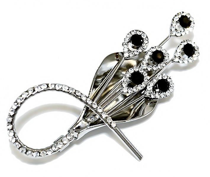 Брошка фирмы Neoglory. Цвет: серебряный. Камни: белый и чёрный циркон . Диаметр: 5,5 см.