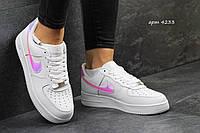 Женские стильные кроссовки Nike Air Force артикул 4233 белые с серебром (серебро отражается под углами разными