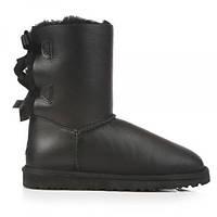 Угги женские натуральные UGG Australia Bailey Bow Leather Black (Угги Оригинал). Живое фото