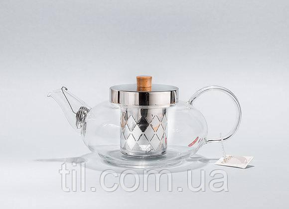 Термостойкий боросиликатный чайник с нержавеющей сталью.