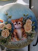 """Декоративная 3D керамическая тарелка """"котенок"""""""