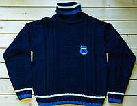 Вязаный синий свитер на мальчика 9-10 лет