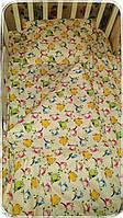 Постельное набор простынь пододеяльник наволочка в детскую кроватку хлопок