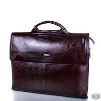 Кожаный коричневый мужской портфель с отделением для ноутбука DESISAN