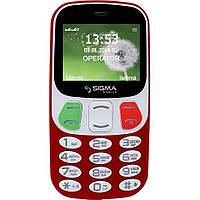 Телефон кнопочный на 2 сим карты бабушкофон Sigma Comfort 50 Retro красный