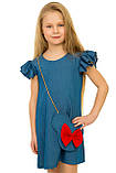 Летнее платье свободного кроя для девочек 110-128р, фото 2