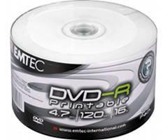 Диск Emtec DVD-R 4,7 GB 16x Full Surface Inkjet Printable white Shrink/50