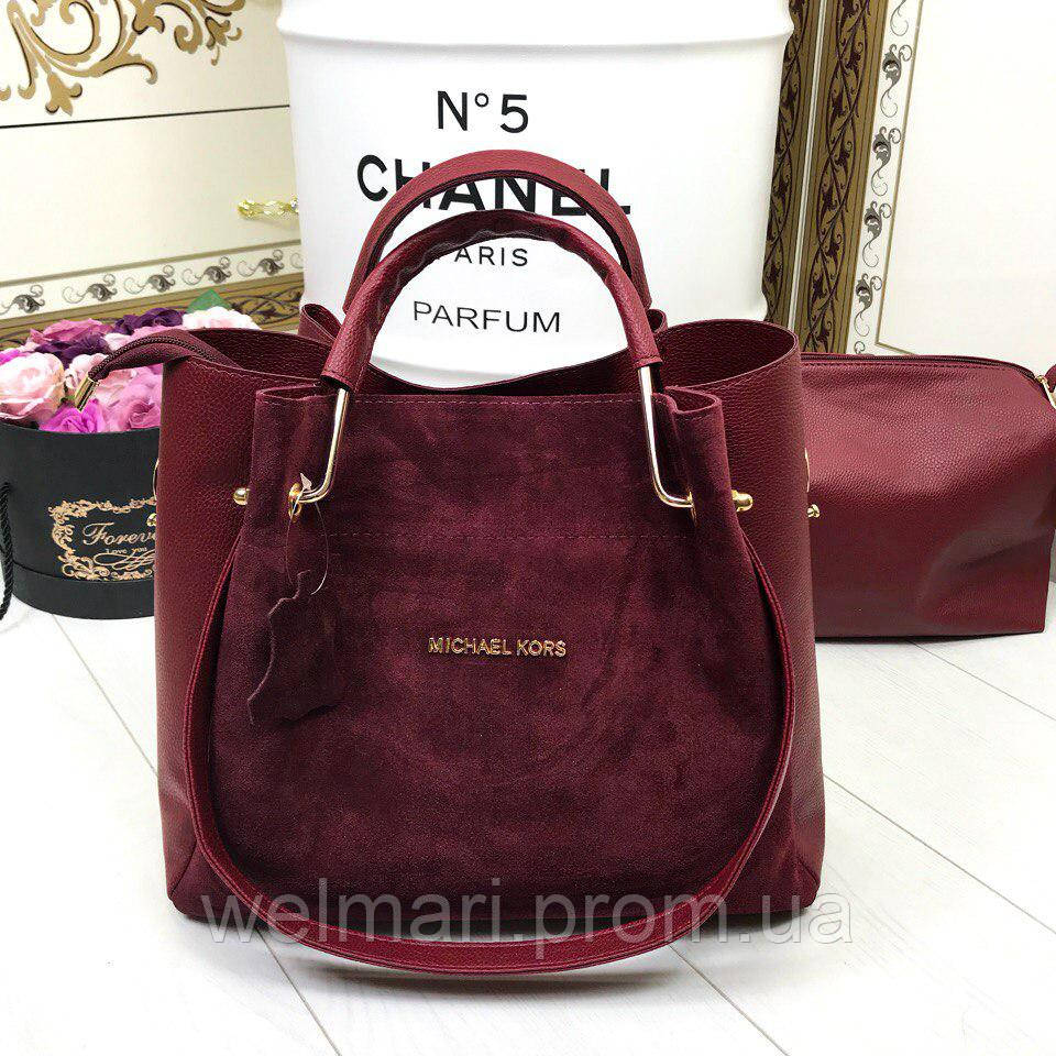 Женская стильная сумка 2 в 1: сумка + маленькая сумочка (разные цвета), фото 1