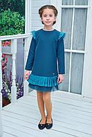 Нарядное детское платье Арина креп дайвинг + гипюр+фатин 116см бирюза