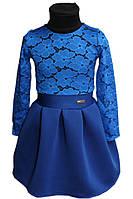 Платье для девочки Бомбочка гипюр неопрен електрик 98см