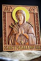 Резная икона Богородица Семистрельная