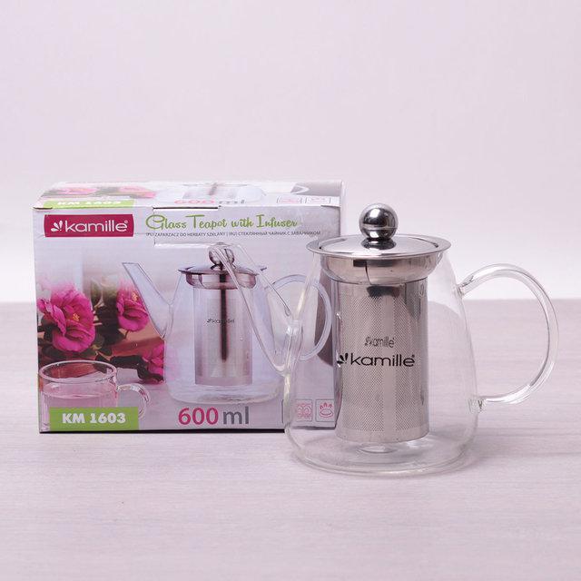 Заварочный чайник Kamille 600 мл стеклянный (заварник, для газовых плит)