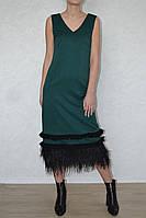 Платье  длинное перья
