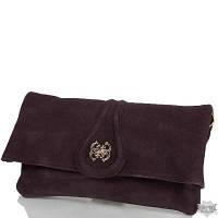 Женская сумка-клатч коричневая из качественного кожзаменителя и натуральной замши ANNA&LI