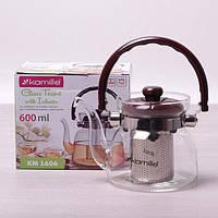 Заварочный чайник 600 мл Kamille стеклянный со съемным ситечком и ручкой (заварник, для газовых плит)