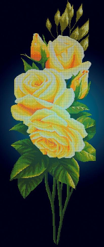 Схема для вишивки та вишивання бісером Бисерок «Жовта троянда на синьому фоні» (40x100) (П-400 Г (10))