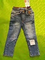 Джинсы для мальчика 2-5 лет синего цвета пояс-резинка оптом