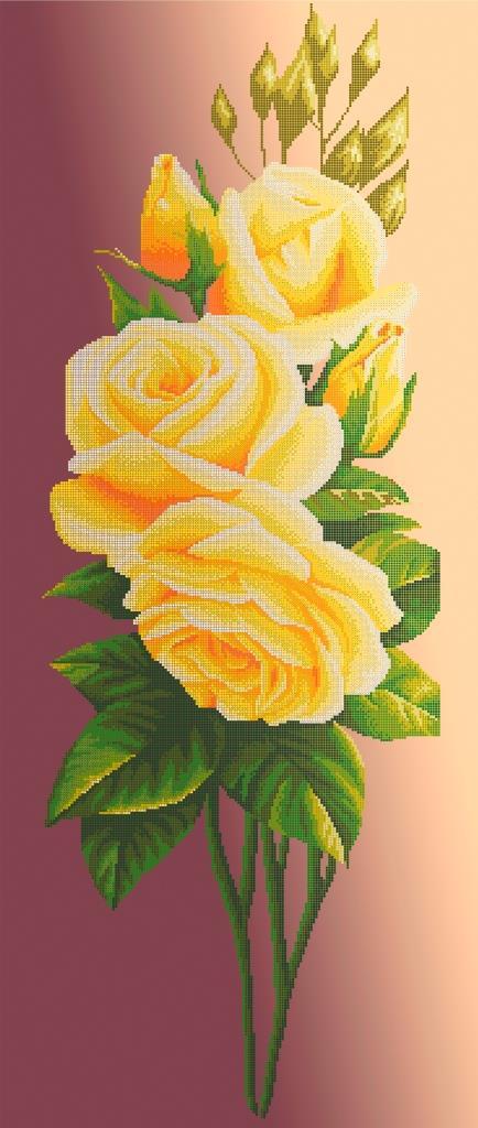 Схема для вишивки та вишивання бісером Бисерок «Жовта троянда на бежевому фоні» (40x100) (П-400 К (10))