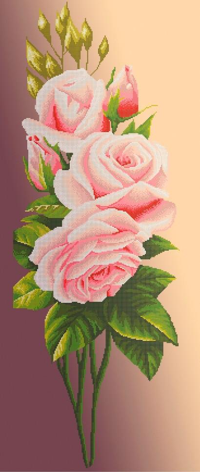 Схема для вишивки та вишивання бісером Бисерок «Рожева троянда на бежевому фоні» (40x100) (П-401 К (10))