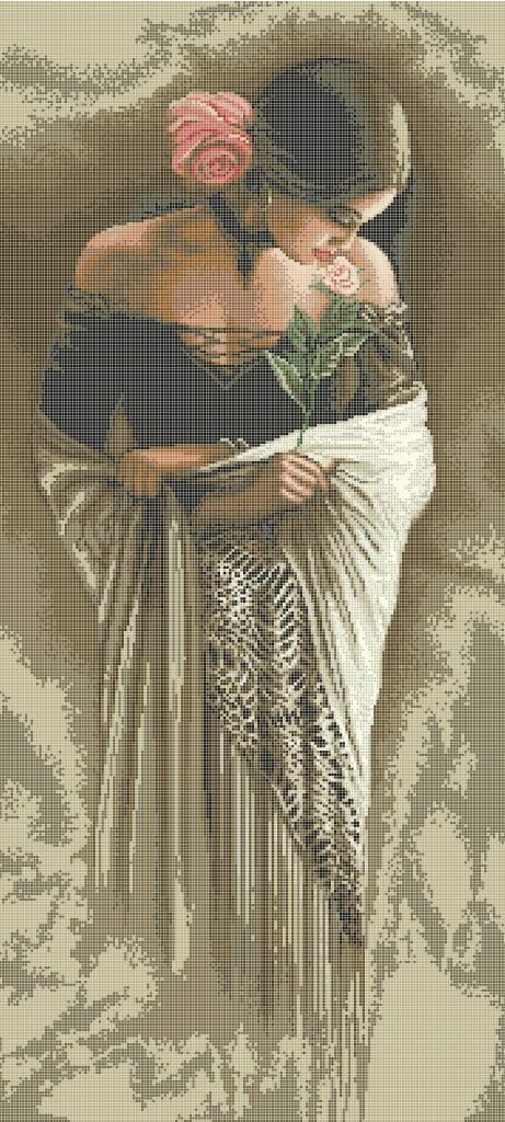 Схема для вишивки та вишивання бісером Бисерок «Іспанка з розою» (40x100) (П-403 (10))