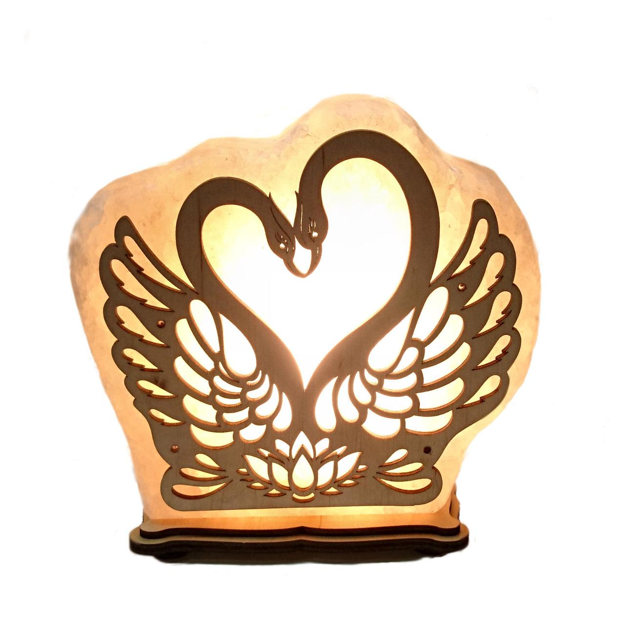 Соляной светильник Лебеди сердце