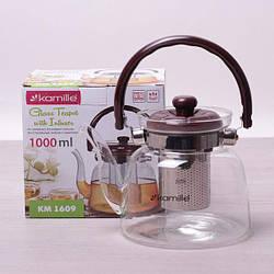 Заварочный чайник 1000 мл Kamille стеклянный со съемным ситечком и ручкой (заварник, для газовых плит)