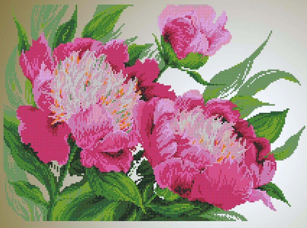 Схема для вишивки та вишивання бісером Бисерок «Рожеві півонії» (40x45) (ЧВ-6046 (10))