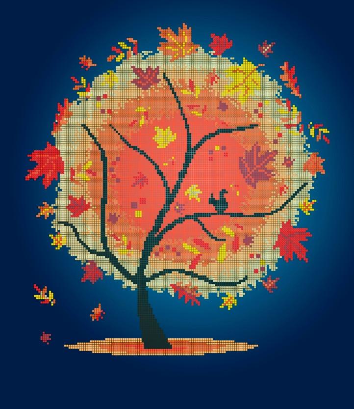 Схема для вишивки та вишивання бісером Бисерок «Осеннее дерево» (40x45) (ЧВ-6023(10))