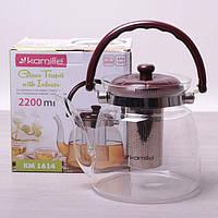 Заварочный чайник 2200 мл Kamille стеклянный со съемным ситечком и ручкой (заварник, для газовых плит)