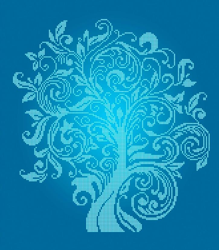 Схема для вишивки та вишивання бісером Бисерок «Дерево достатку» Синій фон (40x45) (ЧВ-6001(10)) С